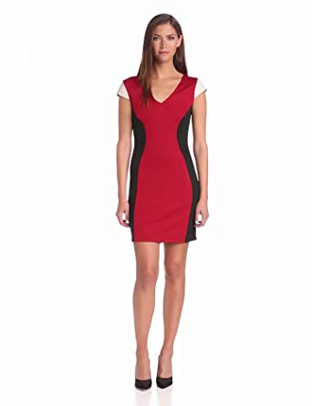 Madison Marcus Women's Sharp Colorblock Sheath Dress, Red, Small