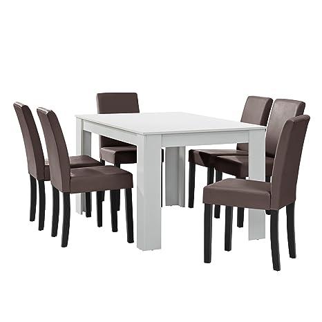 [en.casa] Esstisch weiß matt mit 6 Stuhlen braun Kunstleder gepolstert 140x90 Essgruppe Esszimmer
