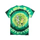 Ripple Junction Rick and Morty Large Portal Adult T-Shirt Medium Green Tye Dye (Color: Green Tye Dye, Tamaño: Medium)