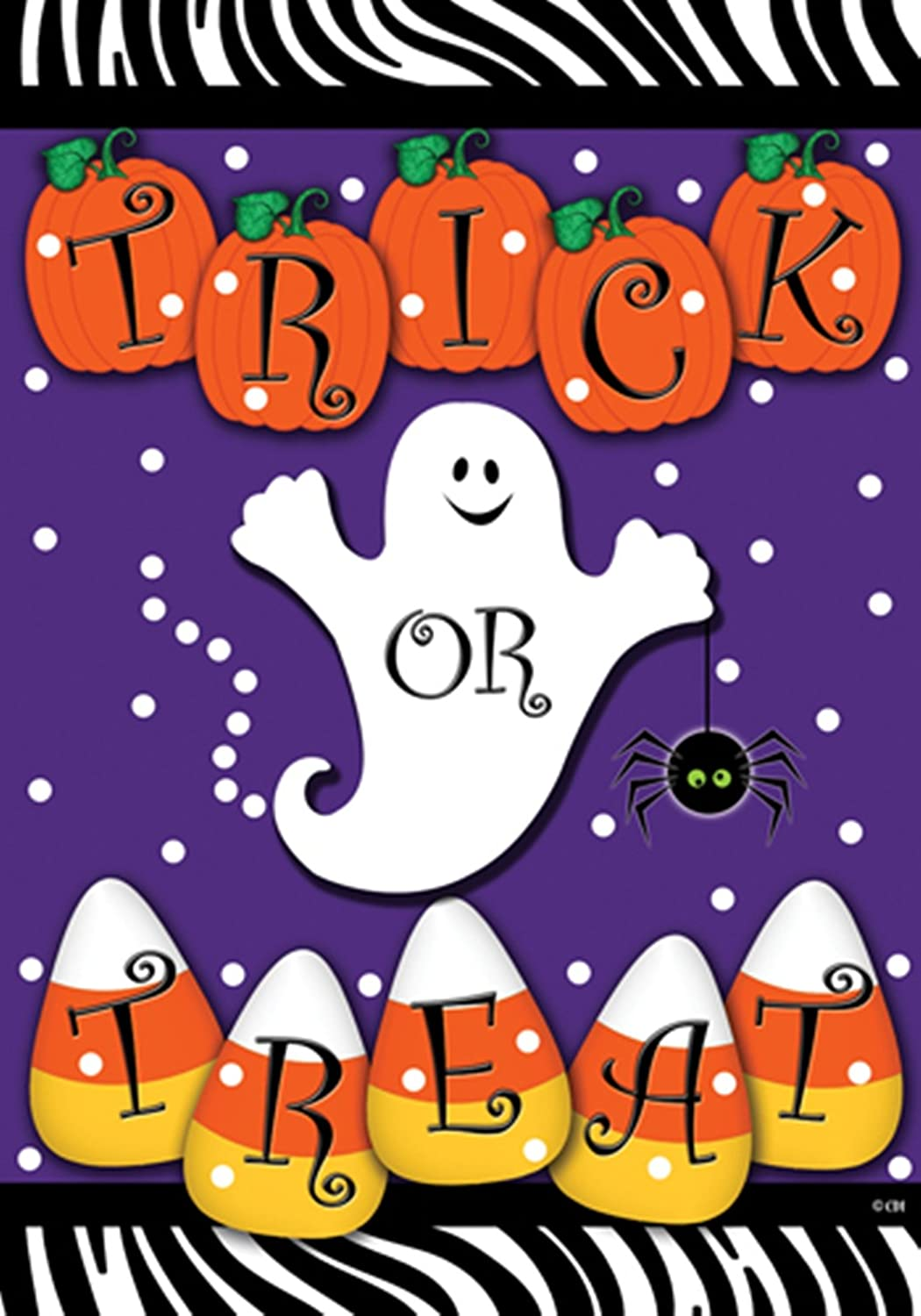 Trick Or Treat   Halloween Ghost Pumpkins And Candy Corn Garden Size 12 X  18 Inch Decorative Flag   Garden Flag Size Is 12 In Wide X 18 In Long Fits  ...