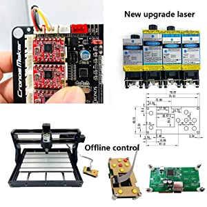 CNC Milling Machine CNC 3018 Pro Milling Machine CNC 3018 Pro GRBL Control DIY Mini CNC Machine 3 Axis Mini DIY Wood Router CNC Engraving Machine + ER11 + 5mm Extension Bar 5500MW Laser (Tamaño: 5500MW Laser)