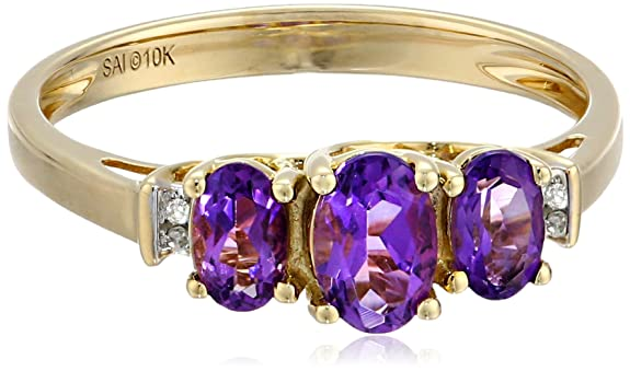 10k-Yellow-Gold-Birthstone-Three-Stone-Diamond-Accented-Ring