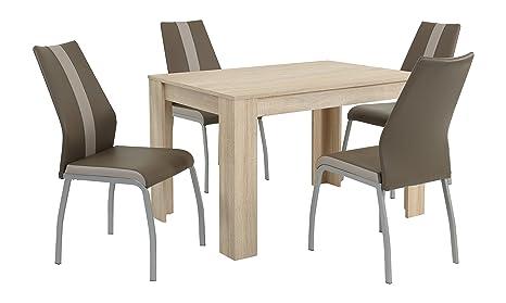 Essgruppe Trixi Set 4-teilig, Tisch Sonoma + 4 Stuhle Braun, B120 x T80 x H76 cm  Apollo