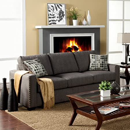 Furniture of America Madrid Fabric Sofa with Nailhead Trim - Charcoal