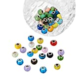 PH PandaHall 100pcs Lampwork Glass European Beads Mixed Color Handmade Large Hole Rondelle Beads with Brass Double Cores, Hole: 5mm (Color: Lampwork-100pcs, Tamaño: 14~16mm)