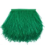 Sowder Ostrich Feathers Trims Fringe with Satin Ribbon Tape Dress Sewing Crafts Costumes Decoration Pack of 2 Yards (Dark Green) (Color: dark green)