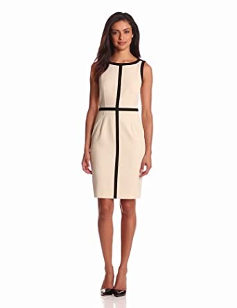 Calvin Klein Women's Ponte Aline Dress, Bone, 10: Amazon Fashion