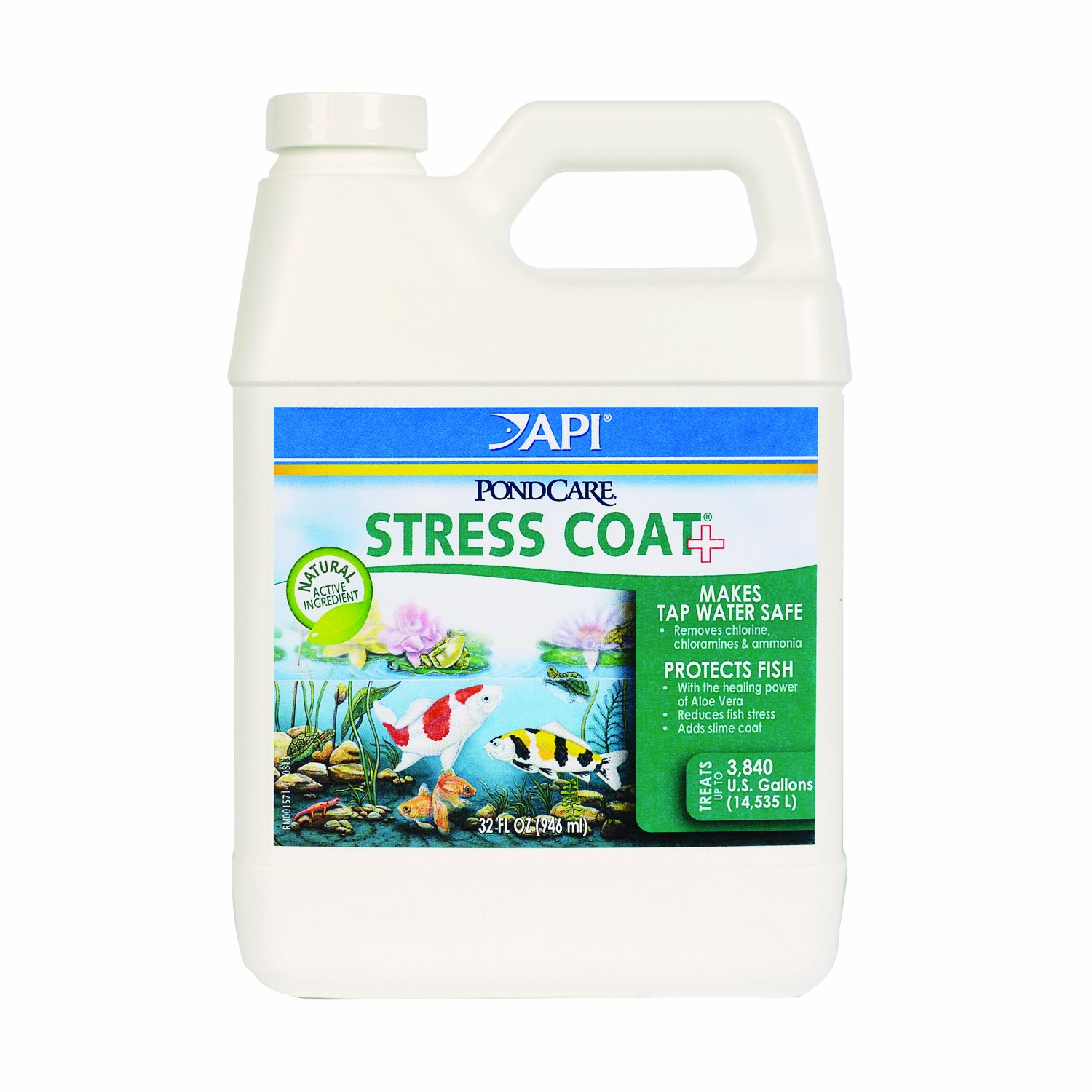 Api pondcare stress coat pond water conditioner 32 ounce for How to make tap water safe for fish without conditioner