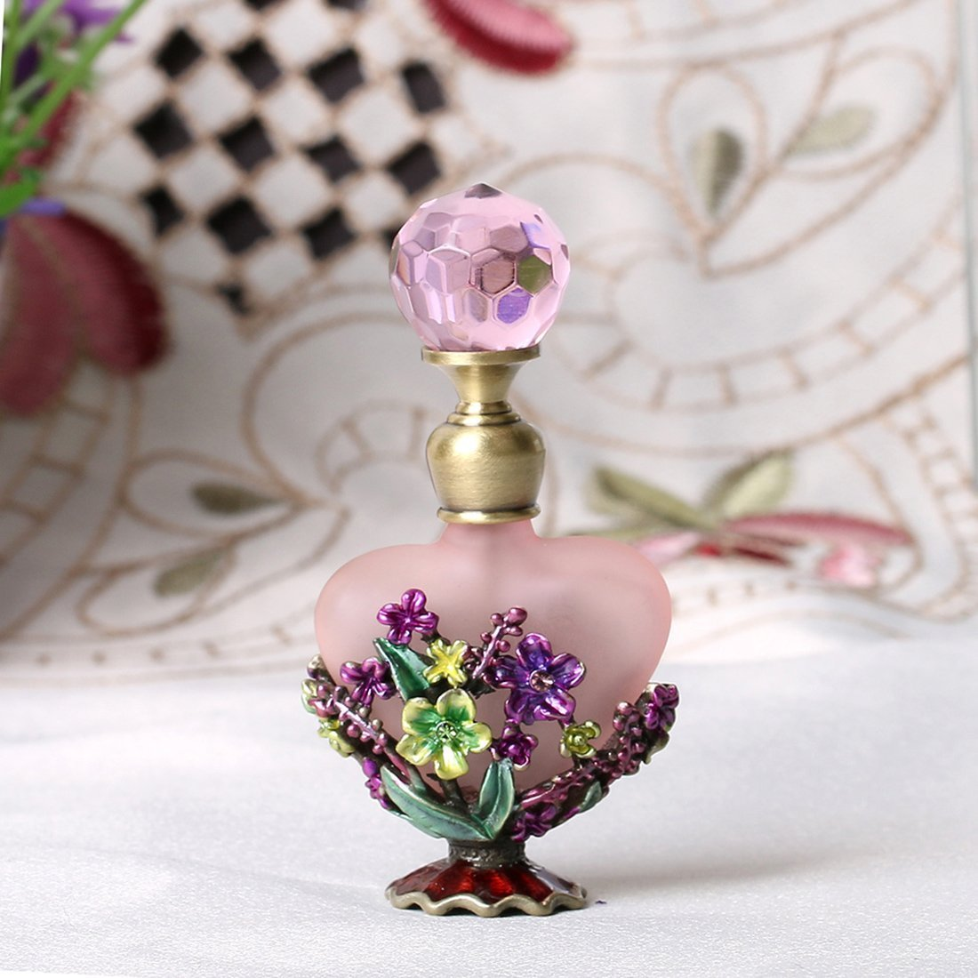 H&D Vintage Magical Violet Refillable Empty Crystal Perfume Bottle Handmade Home Decor Lady Wedding Gift