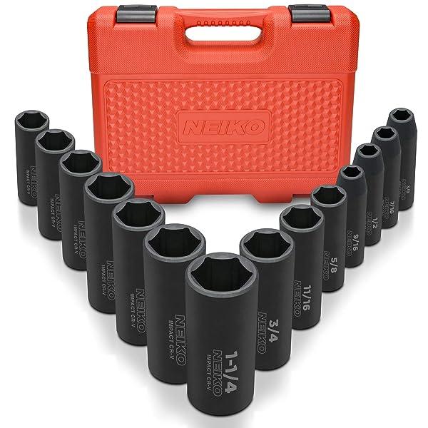 """Neiko 02476A 1/2"""" Drive Deep Impact Socket Set, Cr-V Steel, 6-Point   14-Piece Set   SAE 3/8 To 1-1/4"""""""