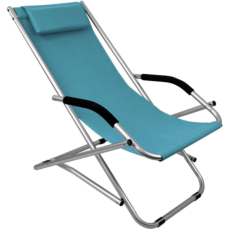 Aluminium Liegestuhl inkl. Kopfkissen faltbar und verstellbar Strandstuhl Campingstuhl Gartenstuhl Klappstuhl Strandliege Sonnenliege Relaxliege – Blau jetzt bestellen