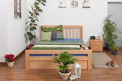 """Bett mit Stauraum """"Easy Sleep"""" K8 inkl. 2 Schubladen und 1 Abdeckblende, 160 x 200 cm Buche Vollholz massiv Natur"""