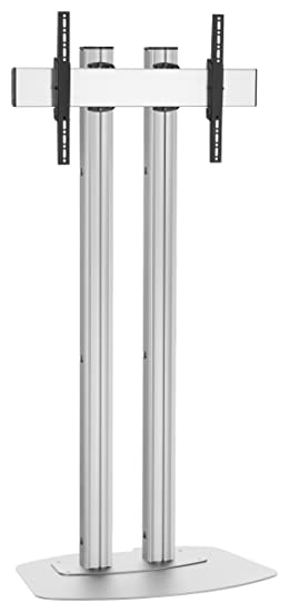 Vogels FD1584S Double Pole Floor Stand For up to 85 inch TVs - 1.5m - Silver