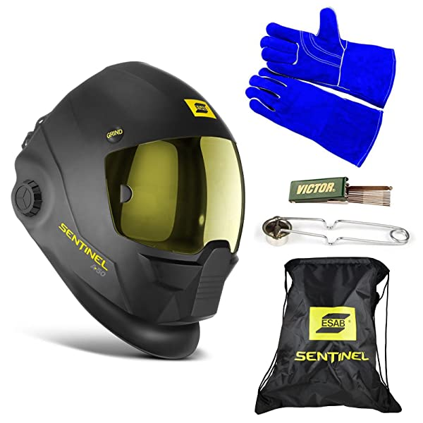 ESAB Sentinel A50 Automatic Helmet, BAG, WELDING GLOVE, STRIKER, & TIP CLEANER 0700000800