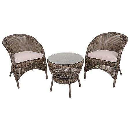 Azuma 3 Piece Marseille Wicker Rattan Garden Bistro Furniture Table & Chair Set