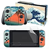 eXtremeRate Full Set Faceplate Skin Decal Stickers for Nintendo Switch/NS with 2Pcs Screen Protector (Console & Joy-con & Dock & Grip)- The Great Wave (Color: Great Wave.)