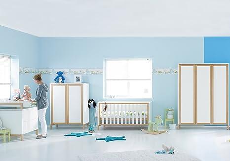 Herlag H1969-101 Kinderzimmer Alex, bestehend aus: Kinderbett, Kommode, Wickelplatte, Kleiderschrank 3-turig, weiß/natur