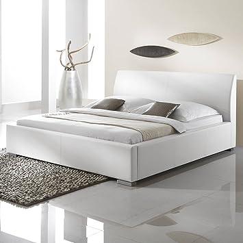 Polsterbett Kunst-Lederbett Weiß Bett Doppelbett Bettgestell Anton Komforthöhe, Größe:160x200 cm