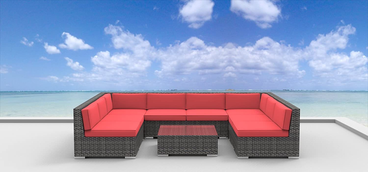 www.urbanfurnishing.net Urban Furnishing - Tahiti 9pc Modern Outdoor Backyard Wicker Rattan Patio Furniture Sofa Sectional Couch Set - Coral Red at Sears.com