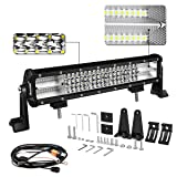 LED Light Bar, Autofeel 15 inch 270W Quad Row Driving Lights Spot Flood Combo Beam Light Bar Off Road Lights with Mounting Brackets and Wiring Harness for Truck (Color: White Light, Tamaño: 15