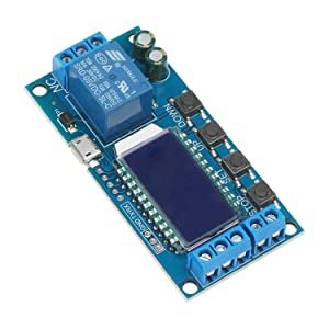 Timer Relay, DROK Time Delay Relay 5V 12V 24V Delay Controller Board Delay-off Cycle Timer 0.01s-9999mins Trigger Delay Switching Relay Module with LCD Display Support Micro USB 5V Power Supply