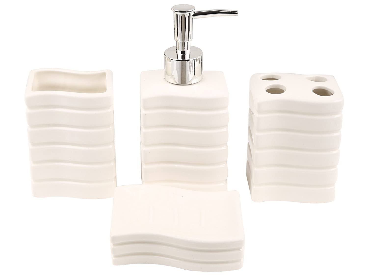 Upto 60% Off On Bathroom Accessories By Amazon | Miamour 4 Piece Ceramic Bathroom Accessory Set, White (MMCBSWW001004) @ Rs.499