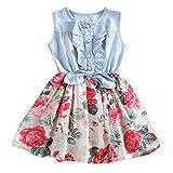 RJXDLT Baby Girls Dresses Lemon Flower Printed Bowknot Skirt Dress White 12-24 Months (Color: 1-white, Tamaño: 12-24 Months)