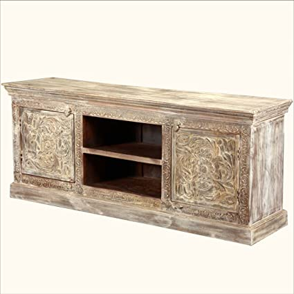 White Hand Carved Tropical Hardwood Media Center Console