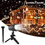 Christmas Projetor Lights, Comkes Snowflake Projector Light Snowfall Light Fairy Landscape Light Show Waterproof Rotating Spotlight Projection for Christmas Halloween Party Wedding Outdoor Decorations (Color: Black)