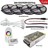 RGB+White LED Strip 5050 SMD Flexible Light DC 12V 60Led/m Strip Lamp+Mi Light Led Controller+Power Adapter Supply Waterproof IP65 (RGBW, 5m x 4 roll IP65 Led Strip) (Color: RGBW, 5m x 4 roll IP65 Led Strip Kit)