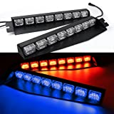 48LED 48W LED Lightbar Visor Light Windshield Emergency Hazard Warning Strobe Beacon Split Mount Deck Dash Lamp (Red/Blue)