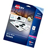 Avery Blank Printable Tickets, Tear-Away Stubs, Perforated Raffle Tickets, Pack of 200 (16154), New Version (Tamaño: New Version (200 cards))