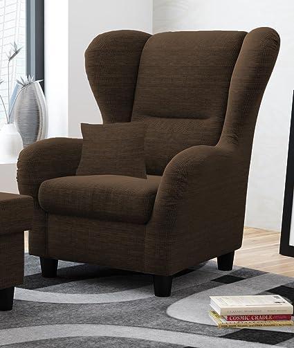Sessel, Ohrensessel, braun, Strukturstoff, Zierkissen B/H/T 90/98/76 cm