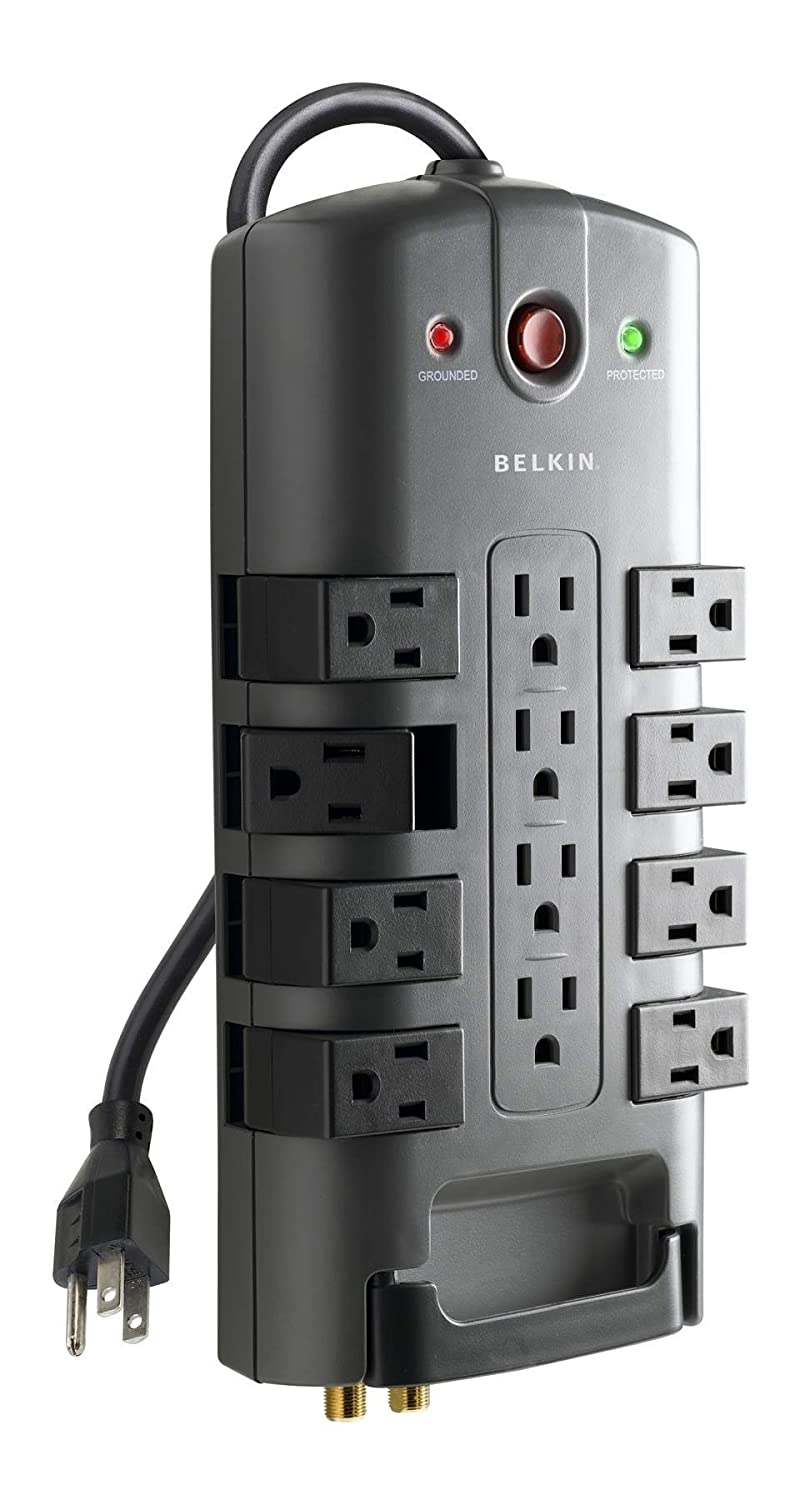 Belkin 12-Outlet Pivot-Plug Surge Protector with 8-Foot Cord, BP112230-08