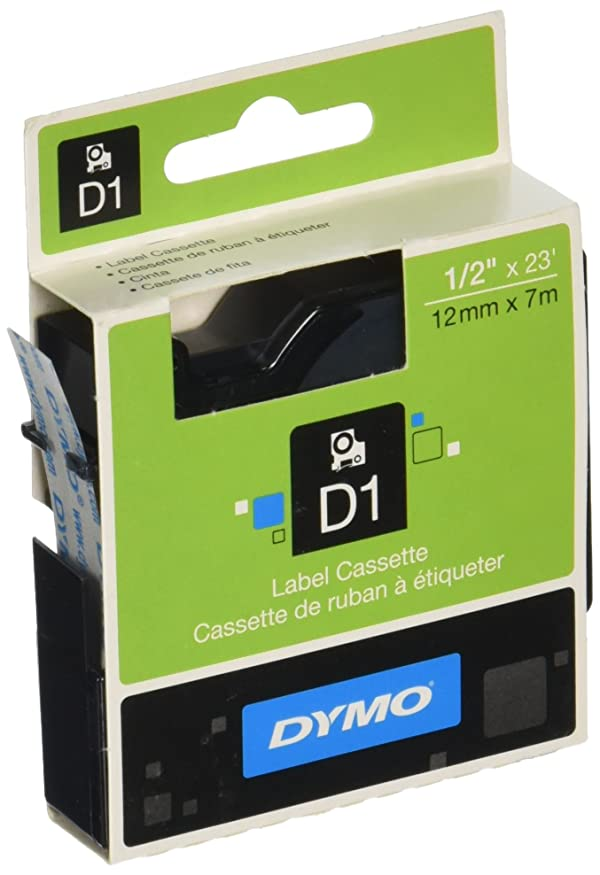 DYMO 45010 Standard D1 Labeling Tape Black Print on Clear 1//2/'/' W x 23/' L 2 PACK