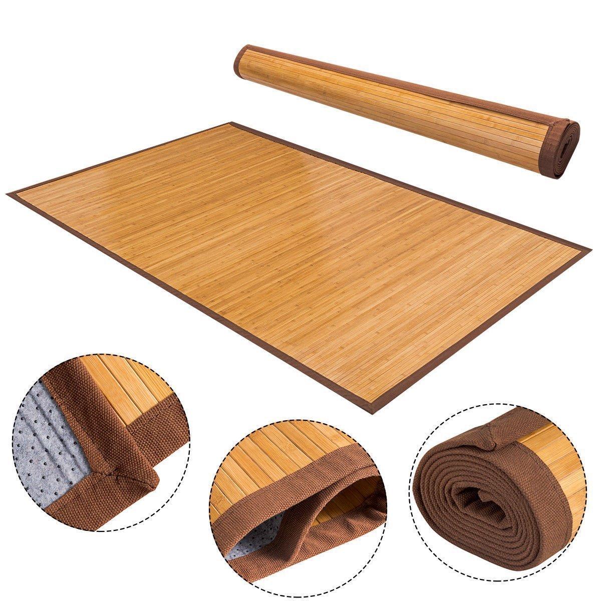 "Giantex 60"" x 96"" Bamboo Area Rug Floor Carpet Natural Bamboo Wood Indoor Outdoor"