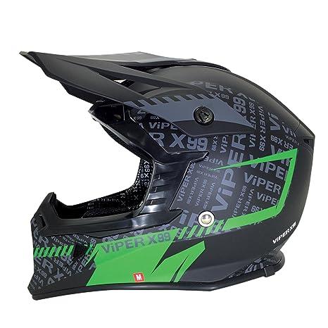 Casque de moto vert Viper RSX99 stéréo MX Attitude