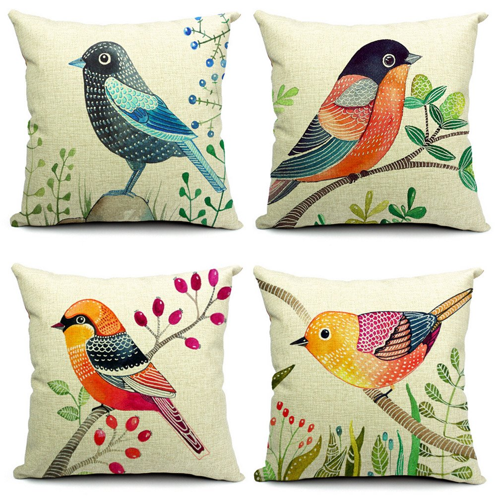 Bird Pattern Throw Pillows : Unique Outdoor Throw Pillows With Birds On Them - Uniq Home Decor