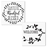 2 PCS Grateful Thankful Blessed and Welcome Stencil Set AZDIY Reusable Stencils for Painting on Wood Laser Cut Painting Stencil for Home Décor & DIY Projects - Quote Stencils Word Stencil Set (Color: Grateful Thankful Blessed & Welcome, Tamaño: Grateful Thankful Blessed & Welcome)
