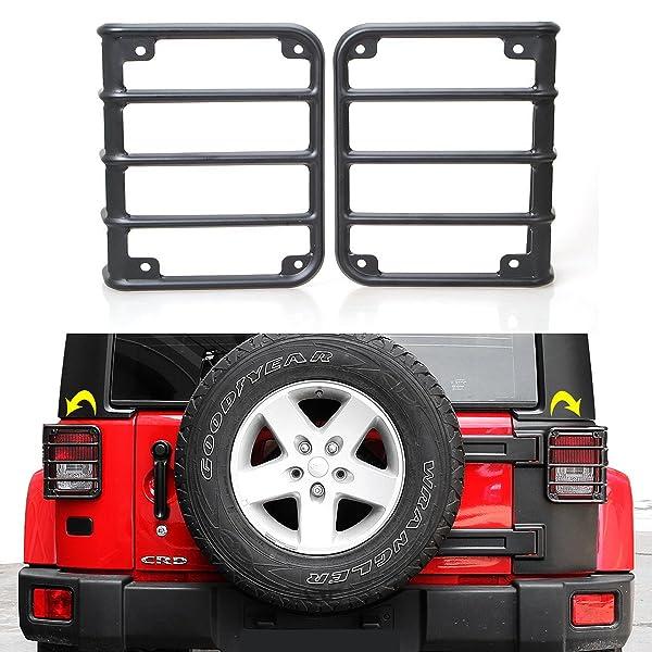 USA Flag RT-TCZ Aluminum Black Rear Taillights Light Guard Tail Light Cover For 1997-2006 Jeep TJ Wrangler Pair