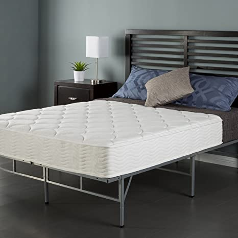 "Sleep Master 8"" Coil Mattress and Easy to Assemble Smart Platform Metal Bed Frame, Twin"