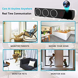 Hidden Camera in Bluetooth Speaker with Stronger Night Vision, Wireless 1080P WiFi HD Spy Camera with Motion Detection/Real-Time View Mini Nanny Cam (Color: black)