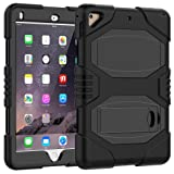 Azzsy iPad 9.7 Case,iPad 2018/2017 Case,iPad 6th/5th Generation Case,Slim Heavy Duty Shockproof Rugged Case Hard PC+Silicone Hybrid High Impact Full Body Protective Case for iPad 9.7-inch,Black