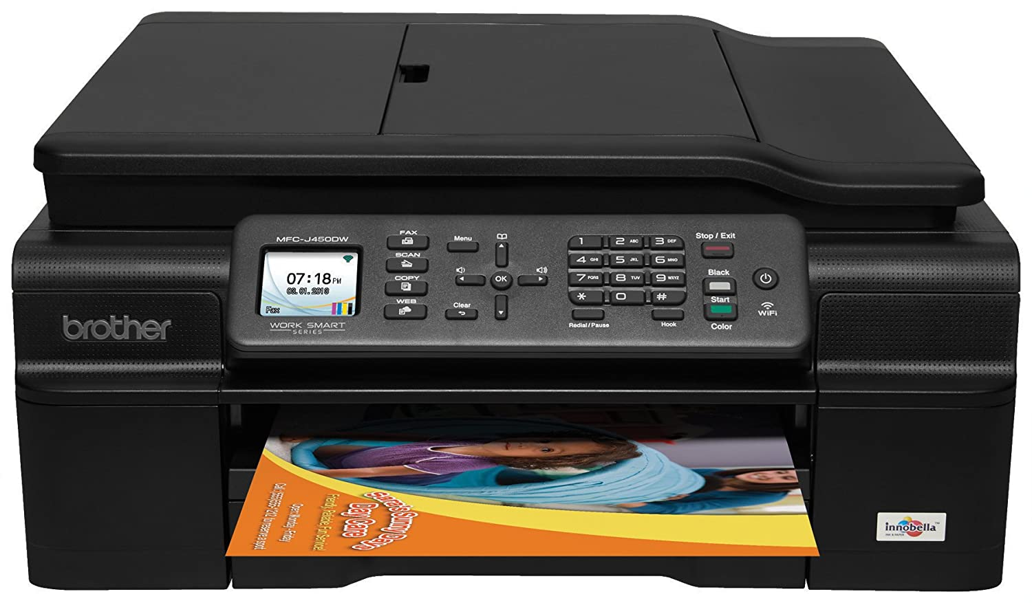 Brother Printer MFCJ450DW Easy-To-Use Inkjet All-In-One Color Printer with Scanner, Copier and Fax