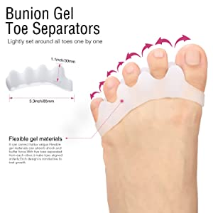Bunion Corrector Protector Sleeves Kit for Cure Pain in Big Toe Joint, Tailors Bunion, Hallux Valgus, Hammer Toe, Toe Separators Spacers Straighteners