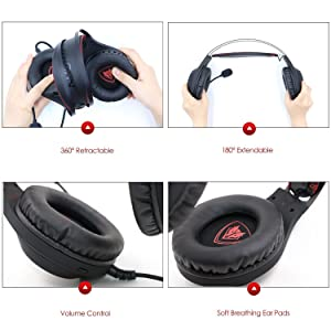 Gaming Headset, NUBWO Wired Gaming Headphones with Microphone and Volume Control for PC/Ps4/Xbox one 1 /Phone/Laptop (Color: Black)