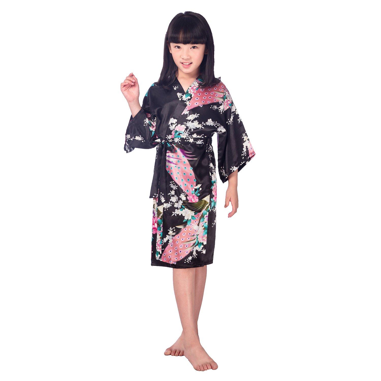 girls kids satin kimono robe for spa party wedding