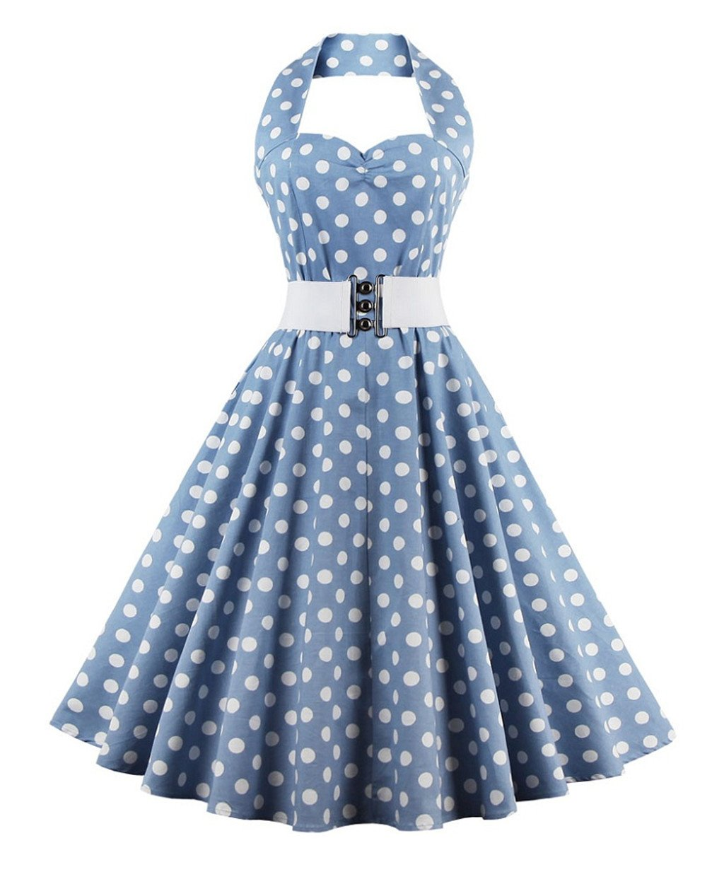 ZAFUL Women's 50s Vintage Polka Dots Halter Swing Dress Party Gown with Belt 0