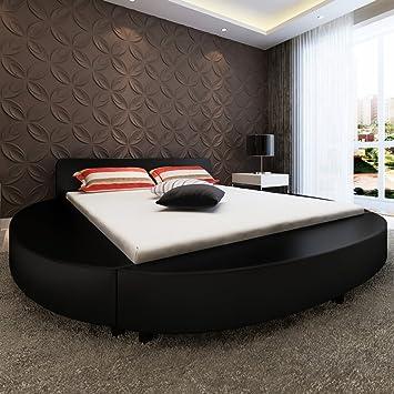 De colour negro de piel sintética de cama de madera con tapa de cristal redonda de espuma de memoria colchón de 180 cm
