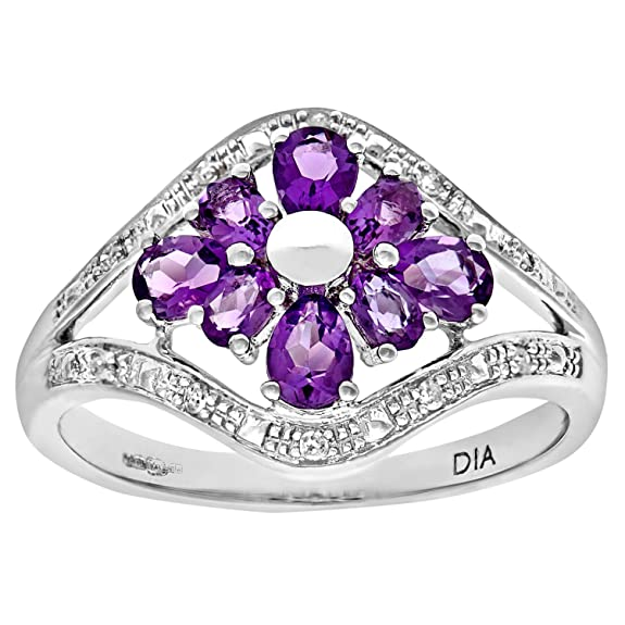 Naava 9ct White Gold Amethyst And Diamond Flower Ring
